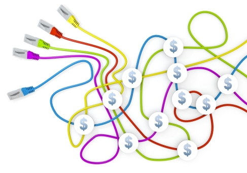 3d graphic of a happy Dollar icon nodes in network cable chaos